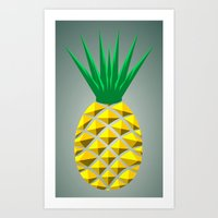 pineapple Art Prints featuring Pineapple by mailboxdisco