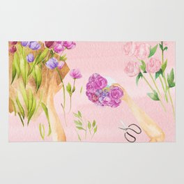 Flower Arranging Watercolor Painting Rug