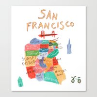 san francisco map Canvas Prints featuring map of san francisco by sarah green