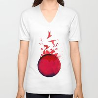 origami V-neck T-shirts featuring Origami by Sumalab