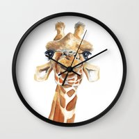 giraffe Wall Clocks featuring Giraffe  by Tussock Studio
