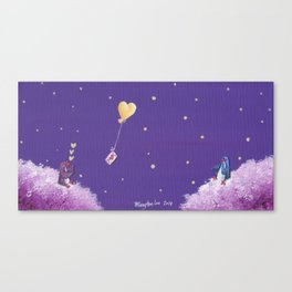 Penguin Sends Love Letter with Heart Balloon to Friend Across Starry Sky Canvas Print