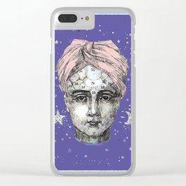 Phrenology head with turban. Clear iPhone Case