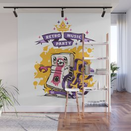 Retro Music Party Poster Wall Mural