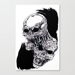 Conjoined Demon Heads Black And White Art Canvas Print
