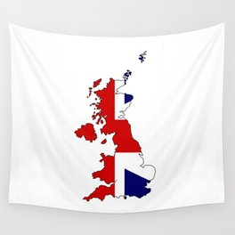 United Kingdom Map and Flag Wall Tapestry