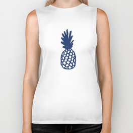 Navy Pineapple Biker Tank