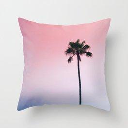Tropical, Palm, Nature, Pink, Scandinavian, Minimal, Modern, Wall art Throw Pillow