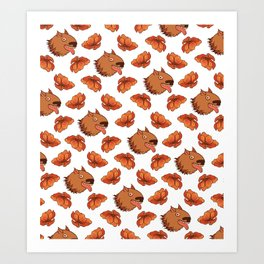 Pups and poppies Art Print