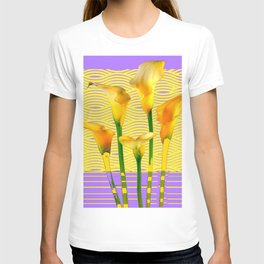 Gold-Lilac Color Calla Lilies Pattern T-shirt