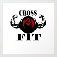 crossfit Art Prints featuring CROSSFIT 1 by Robleedesigns