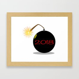 Cartoon 2018 New Year Bomb Framed Art Print