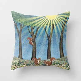 sunshine squirrels Throw Pillow