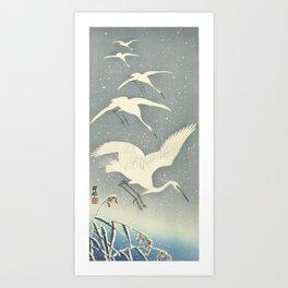 Descending egrets in snow, Ohara Koson Art Print