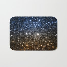 Galaxy Sparkle Stars Blue to Golden Bronze Ombre Bath Mat
