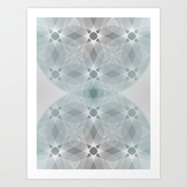 Colliding Circles in Teal and Grey Art Print