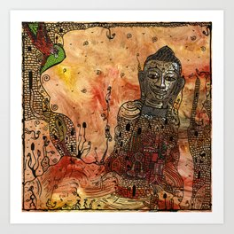 Ink Bouddha Art Print