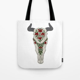 Cow skull with floral ornament Tote Bag