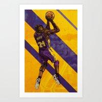 kobe Art Prints featuring Kobe Bryant: BLACK MAMBA by Maddison Bond