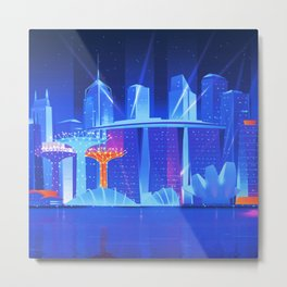 Synthwave Neon City #23: Singapore Metal Print