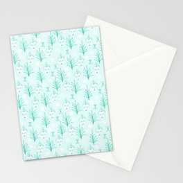 Botanical Beauty Faces Aqua Menthe Plants Art Print Stationery Cards