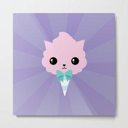Cotton candy cat Metal Print