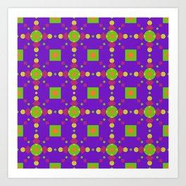 Neon Bus Seat Seamless Pattern Art Print
