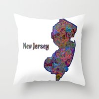 new jersey Throw Pillows featuring New Jersey by gretzky
