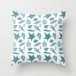 Blue Leaf Pattern Throw Pillow