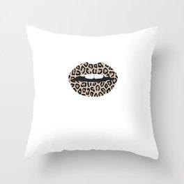 Cheetah Pattern Lips Leopard Fur Mouth Animal Print Throw Pillow