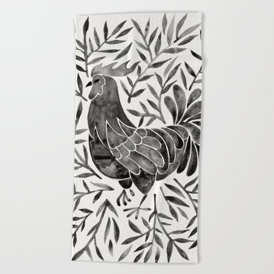 Le Coq – Watercolor Rooster with Black Leaves Beach Towel