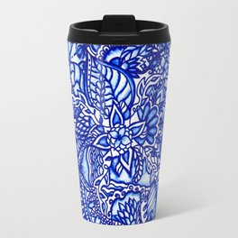 Modern blue handdrawn watercolor floral mandala Travel Mug