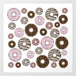 Pattern Of Donuts, Sprinkles, Icing - Pink Brown Art Print