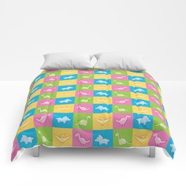 Colorful dinosaurs and pterodactyl cheater quilt Comforters
