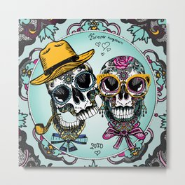 sugar skull familly Metal Print