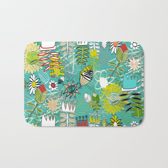 wired weed turquoise blue Bath Mat