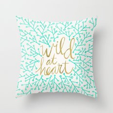 Wild at Heart – Turquoise & Gold Throw Pillow