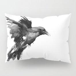 Flying Raven. tribal raven lover black and white raven decor Pillow Sham