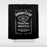 johnny cash Shower Curtains featuring Cash by IIIIHiveIIII