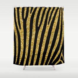 Gold glitter black zebra pattern Shower Curtain