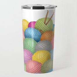 Two Crochet Hooks And A Lot Of Yarn Travel Mug