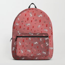 pink,silver,dollar, symbol in shiny metall textur Backpack