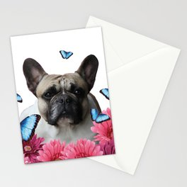 Pug with butterflies and Gerbera Flowers Stationery Cards
