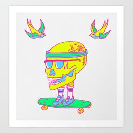 Skull on a skateboard Art Print