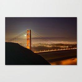 GOLDEN GATE BRIDGE & MOON PHOTO - SAN FRANCISCO NIGHT IMAGE - CALIFORNIA PICTURE - CITY PHOTOGRAPHY Canvas Print