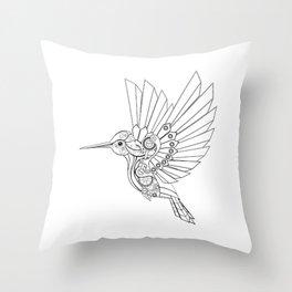 Contour Steampunk Mechanical Hummingbird Throw Pillow