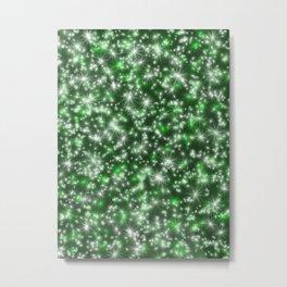Green Christmas Lights Metal Print