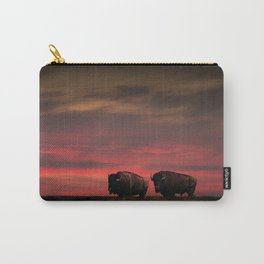 Two American Buffalo Bison at Sunset Carry-All Pouch