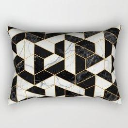 Black and White Marble Hexagonal Pattern Rectangular Pillow