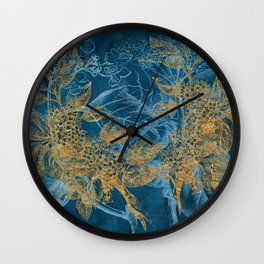 Teal Garden In Spring Wall Clock